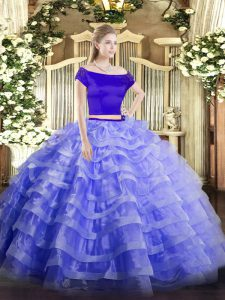 On Sale Blue Zipper Off The Shoulder Appliques and Ruffled Layers Sweet 16 Dresses Tulle Short Sleeves