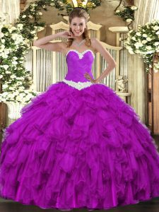 Purple Organza Lace Up Ball Gown Prom Dress Sleeveless Floor Length Appliques and Ruffles