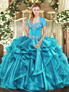 Admirable Aqua Blue Sleeveless Floor Length Beading and Ruffles Lace Up Sweet 16 Quinceanera Dress