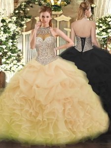 Lovely Organza Halter Top Sleeveless Lace Up Beading and Ruffles and Pick Ups 15 Quinceanera Dress in Champagne