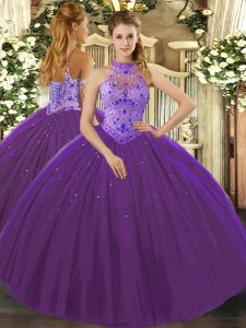 Perfect Purple Halter Top Neckline Beading and Appliques and Embroidery Quinceanera Gowns Sleeveless Lace Up