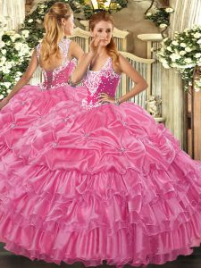 Straps Sleeveless Lace Up Quinceanera Dresses Rose Pink Organza