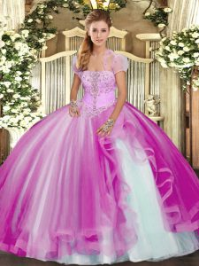 Fuchsia Strapless Neckline Appliques and Ruffles Quinceanera Dress Sleeveless Lace Up