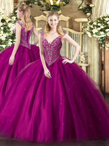 High Quality Sleeveless Beading Lace Up Quinceanera Gown