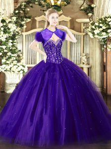 Cute Purple Ball Gowns Sweetheart Sleeveless Tulle Floor Length Lace Up Beading Sweet 16 Dress