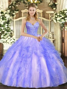 Lavender Ball Gowns Tulle V-neck Sleeveless Beading and Ruffles Floor Length Lace Up Quinceanera Gown