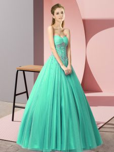 Sweetheart Sleeveless Tulle Homecoming Dress Beading Lace Up