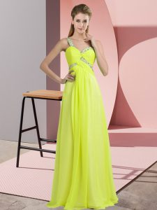 Stylish Floor Length Empire Sleeveless Yellow Green Dress for Prom Lace Up