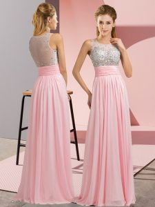 Superior Baby Pink Sleeveless Beading Floor Length Prom Evening Gown
