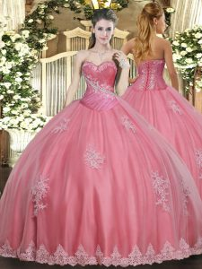 Pretty Ball Gowns Sweet 16 Dresses Watermelon Red Sweetheart Tulle Sleeveless Floor Length Lace Up