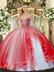 Designer Coral Red Ball Gowns Sweetheart Sleeveless Tulle Floor Length Lace Up Beading and Ruffles Vestidos de Quinceanera