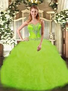 High End Sweetheart Sleeveless Lace Up Quinceanera Dress Yellow Green Organza