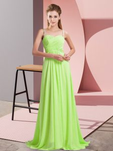 Fitting Yellow Green Sleeveless Sweep Train Ruching Homecoming Dress