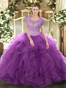Flirting Eggplant Purple Quinceanera Gowns Military Ball and Sweet 16 with Beading and Ruffled Layers Scoop Sleeveless Clasp Handle