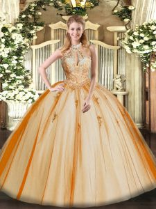 Tulle Halter Top Sleeveless Lace Up Lace and Appliques Sweet 16 Dresses in Orange Red