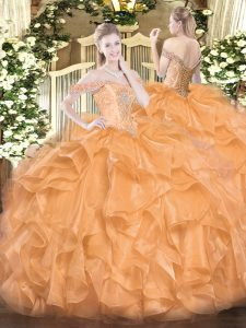 Ball Gowns Sweet 16 Dresses Orange Off The Shoulder Organza Sleeveless Floor Length Lace Up
