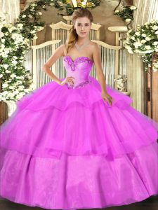 Lilac Sleeveless Floor Length Beading and Ruffled Layers Lace Up 15th Birthday Dress