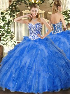 Sweetheart Sleeveless 15th Birthday Dress Floor Length Beading and Ruffles Blue Tulle
