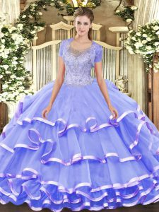 Adorable Lavender 15th Birthday Dress Military Ball and Sweet 16 and Quinceanera with Beading and Ruffled Layers Scoop Sleeveless Clasp Handle