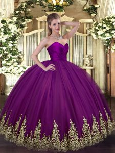Appliques Quinceanera Gown Purple Zipper Sleeveless Floor Length