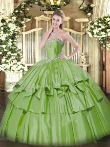 Traditional Floor Length Yellow Green Vestidos de Quinceanera Sweetheart Sleeveless Lace Up