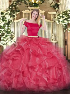 Attractive Appliques and Ruffles 15th Birthday Dress Coral Red Zipper Short Sleeves Floor Length