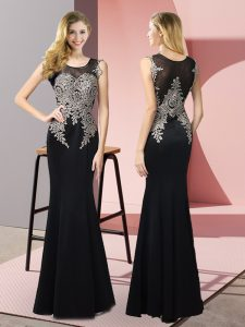 Beautiful Black Side Zipper Scoop Appliques Prom Dress Elastic Woven Satin Sleeveless