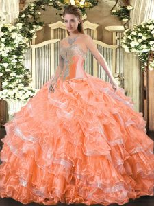 Orange Red Ball Gowns Organza Sweetheart Sleeveless Beading and Ruffled Layers Floor Length Lace Up Quinceanera Gown