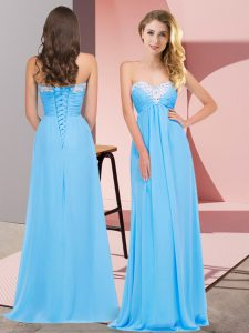 Floor Length Aqua Blue Homecoming Dress Sweetheart Sleeveless Lace Up