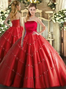 Eye-catching Red Ball Gowns Strapless Sleeveless Tulle Floor Length Lace Up Appliques 15th Birthday Dress