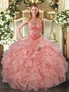 Sumptuous Sleeveless Lace Up Floor Length Beading and Embroidery and Ruffles Sweet 16 Quinceanera Dress