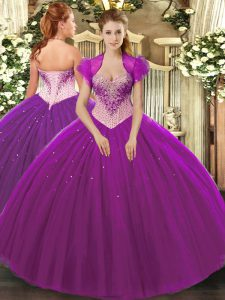 Eggplant Purple Tulle Lace Up Sweet 16 Quinceanera Dress Sleeveless Floor Length Beading