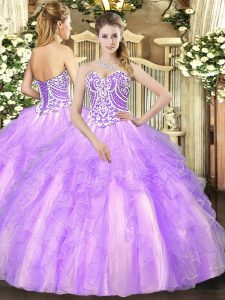 Gorgeous Sweetheart Sleeveless Lace Up Quinceanera Dresses Lavender Tulle