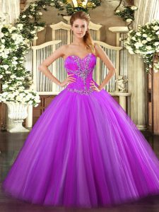Sexy Fuchsia Sweet 16 Quinceanera Dress Sweet 16 and Quinceanera with Beading Sweetheart Sleeveless Zipper