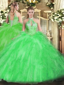Dynamic Sweet 16 Dress Military Ball and Sweet 16 and Quinceanera with Beading and Ruffles Halter Top Sleeveless Lace Up