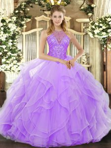 Lavender High-neck Lace Up Beading and Ruffles 15 Quinceanera Dress Sleeveless