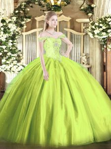 Cheap Tulle Sleeveless Floor Length Quinceanera Dress and Beading