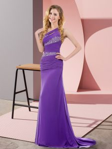 Purple Sleeveless Sweep Train Beading Floor Length Prom Dresses