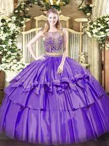 Extravagant Organza and Taffeta Sleeveless Floor Length Sweet 16 Quinceanera Dress and Beading and Ruffled Layers