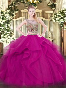 Best Selling Fuchsia Two Pieces Beading and Ruffles Quinceanera Gowns Lace Up Tulle Sleeveless Floor Length