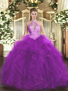 Purple Halter Top Neckline Ruffles and Sequins Quinceanera Dress Sleeveless Lace Up