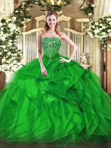 Flare Sleeveless Lace Up Floor Length Beading and Ruffles Quince Ball Gowns