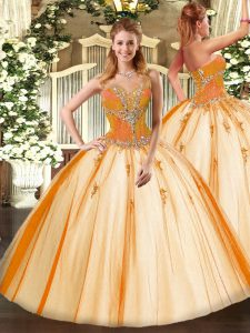 Hot Selling Gold Lace Up Sweetheart Beading Quinceanera Dress Tulle Sleeveless