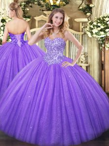 Chic Lavender Sweetheart Lace Up Appliques Sweet 16 Quinceanera Dress Sleeveless