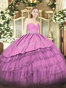 Sumptuous Fuchsia Ball Gowns Beading and Lace and Embroidery and Ruffled Layers 15th Birthday Dress Zipper Organza and Taffeta Sleeveless Floor Length