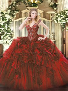 Affordable Sleeveless Organza Floor Length Lace Up 15 Quinceanera Dress in Wine Red with Beading and Ruffles