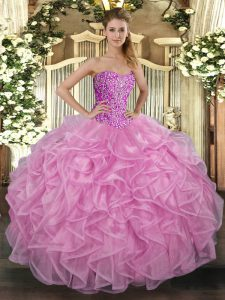 Attractive Sleeveless Tulle Floor Length Lace Up Quinceanera Dress in Rose Pink with Beading and Ruffles