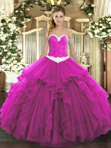 Fuchsia Sweetheart Lace Up Appliques and Ruffles 15 Quinceanera Dress Sleeveless