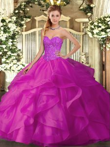 Exceptional Beading and Ruffles Ball Gown Prom Dress Fuchsia Lace Up Sleeveless Floor Length