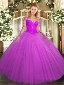Fuchsia Tulle Lace Up Scoop Long Sleeves Floor Length Quinceanera Dress Lace